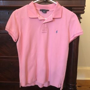 Ralph Lauren women's pink slim fit polo size large